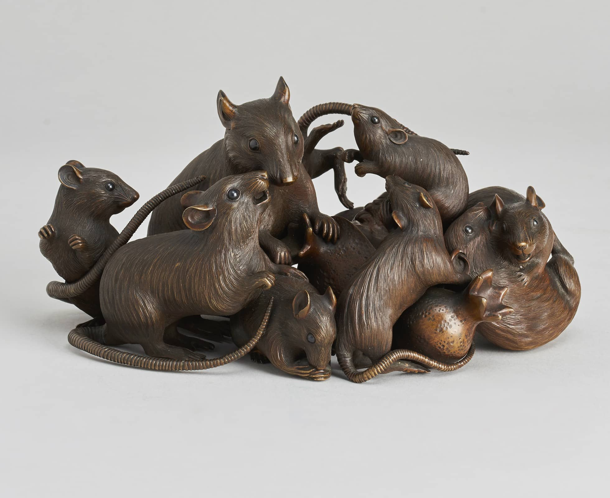 Bronze okimono of a mischief of rats